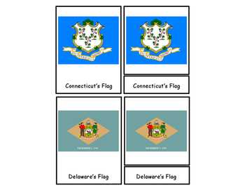 50 State Flags Three Part Cards