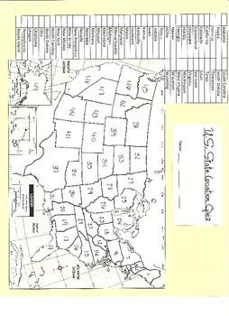 50 State Location Quiz Paper