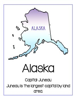 50 State Posters with Capital listed
