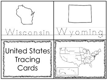 50 State Tracing 4x5 Cards. Geography Curriculum.