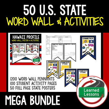 50 State Word Wall, State Profile, Activity Pages MEGA BUNDLE #stockupsale
