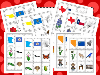 50-State themed Memory Matching and Word Matching preschool curriculum games.