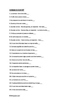 "50 Statements to recognize ""Verdad o Cierto"""