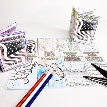 50 States Activity Mini Foldable Booklets