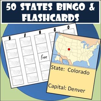50 States Bingo & Flashcards Combo - Great 50 States Practice!