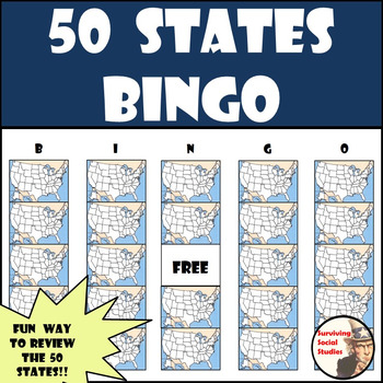 50 States Bingo Review Game - Calling Cards Included!