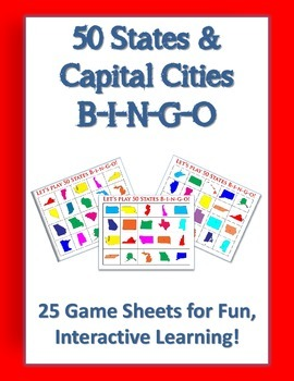 50 States and Capital Cities Full Color Bingo Game Sheets