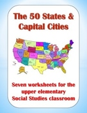 50 States and Capital Cities Worksheets for Upper Elementa