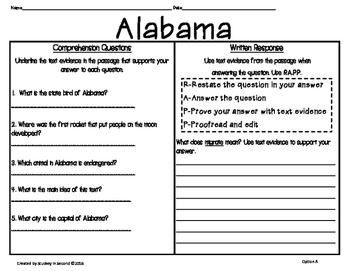 50 States Comprehension Passages {Print & Go}