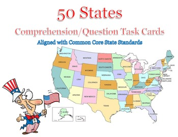 50 States Comprehension/Question Flash Cards: Common Core Aligned