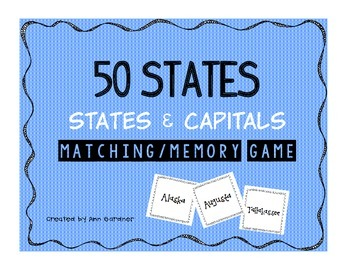 50 States Concentration/Memory Game
