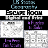 50 States US Geography Activity Escape Room