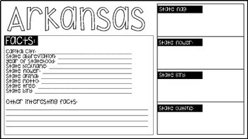 50 States Graphic Organizer | Research Project | Print & Go