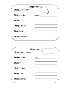 50 States Information/Notebook Cards for Interactive Notebooks