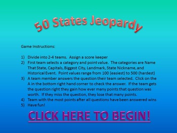 50 States Jeopardy Game