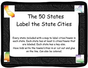 50 States-Label the state cities