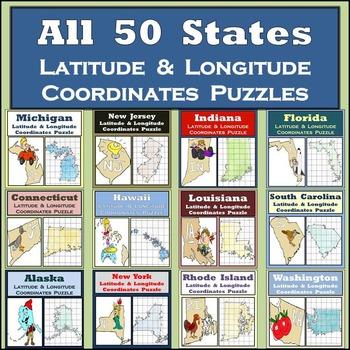 Latitude & Longitude Puzzles Bundle - All 50 States! - Or