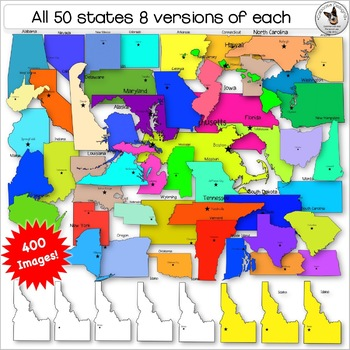 USA States Clip Art. USA Maps. Color and black and white maps. 400+ Images.