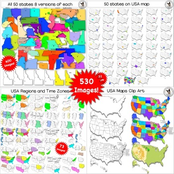 50 States, USA Maps, Regions, Timezones Clip Art ULTIMATE BUNDLE 528 images