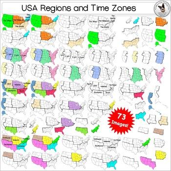 50 States, USA Maps, Regions, Timezones Clip Art ULTIMATE BUNDLE 528 images