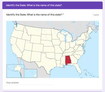 50 States Map Quiz Google Classroom Form