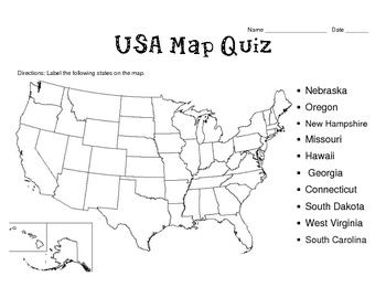 50 States Map Quizzes (8 different templates)
