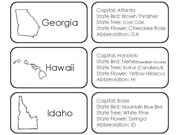 50 States Quick Facts Flashcards. 100 Cards Total.