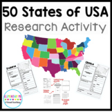 50 States Research and Activity Packet  NO PREP!!