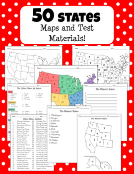 50 States, Regions, and Capitals - Maps and Test Materials