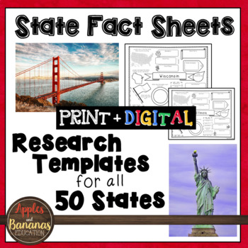 50 States Fact Sheets: Templates for all 50 States w/Answer Keys