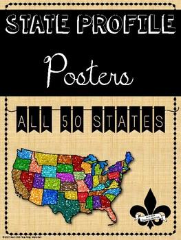 50 States Symbols/Profiles Poster Set