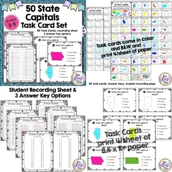 50 States Task Card BUNDLE (3 products) - Name the States, State ID, Capitals