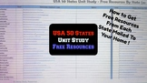 50 States Unit Study - Spreadsheet with Links for Free Resources by State