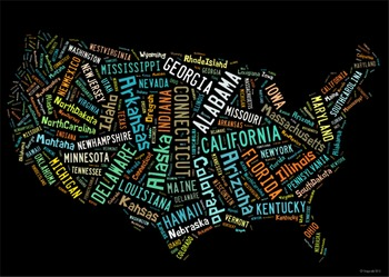 50 States Vocabulary image for Classroom Decoration Poster