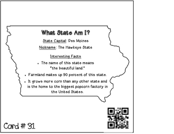 50 States {What State Am I?} QR Code Self-Checking Activity