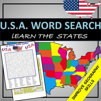 """50 States """"Word Search"""""""
