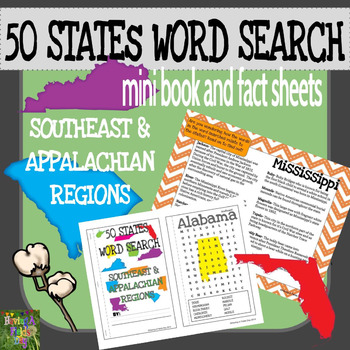 50 States Word Search Mini Book-State Facts Sheets- SE and Appalachian Regions