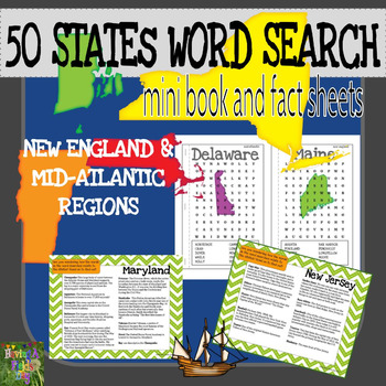 50 States Word Search Mini Book and Fact Sheets - NE and Mid-Atlantic Regions