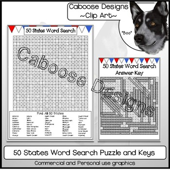 50 States Word Search Puzzle Printable Makes a Great Gap Filler Activity