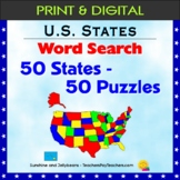 50 States Word Search Puzzles - U.S. States Geography Activity - Grades 4-5