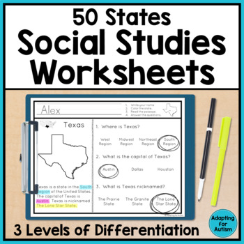 50 States Worksheets Teaching Resources | Teachers Pay Teachers