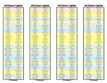 50 States and Capitals Bookmark