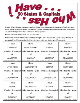 50 States and Capitals I have Who Has Game