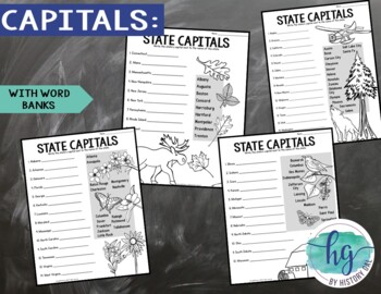 50 States and Capitals Map Activity