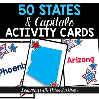 50 States and Capitals Matching Activity Flash Cards