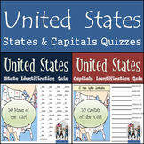 50 States and Capitals Quizzes Bundle