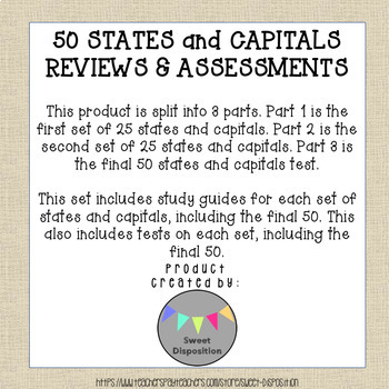 50 States and Capitals Reviews & Assessments (Answer Keys Included)