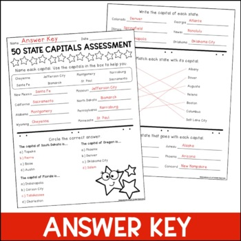 It is a photo of Candid State Capitals Quiz Printable Multiple Choice