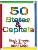 50 States and Capitals Testing Packet