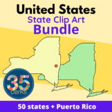 50 States and Puerto Rico Outline Clip Art Set for Boom Cards™
